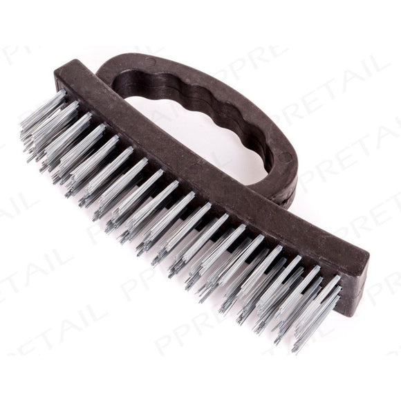 Wire Scrubbing Brush with D Grip Handle and Strong Metal Bristles