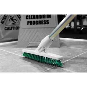 Yellow Grout Brush Angled Stiff Bristled Deck Floor Tile Grout Cleaning Scrubbing Brush and Handle