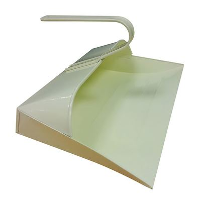 Cream Metal Hooded Dustpan, Metal Closed Dust Pan