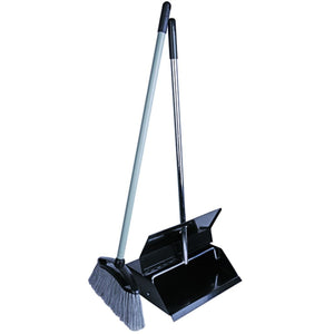 Black Enamel Metal Long Handled Dustpan and Brush Lobby Dustpan