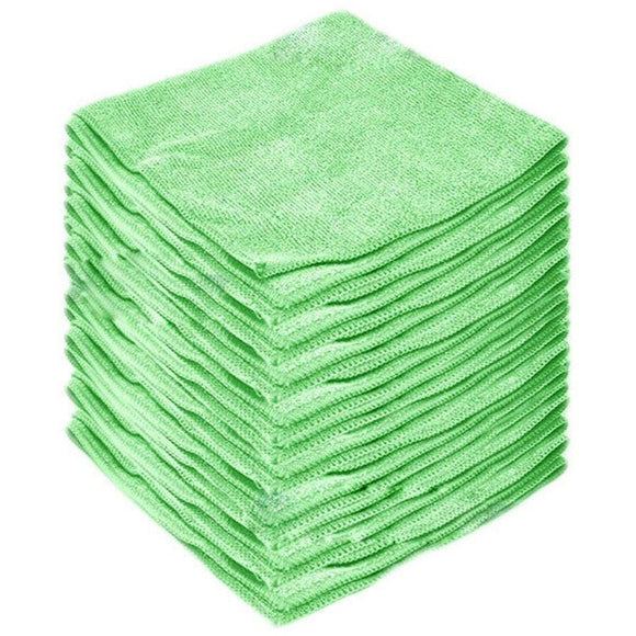 Green Microfibre Large Cleaning Cloths 10 Pack Super Soft Multi Purpose Absorbent Cloths - The Dustpan and Brush Store