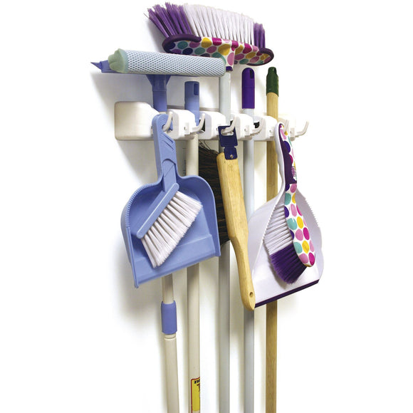 Broom Mop Brush Holder Cupboard Tidy Organiser Rack - The Dustpan and Brush Store