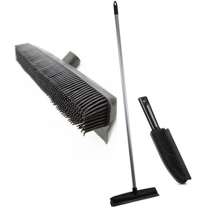 Twin Pack Rubber Bristle Broom and Hand Brush Pet Hair Removal Set - The Dustpan and Brush Store