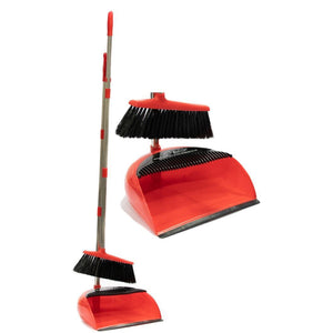 Long Handled Dustpan and Brush Set  - Multi Section RED
