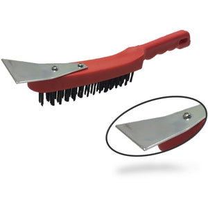 Heavy Duty Wire Brush Plastic Body with Strong Metal Scraper