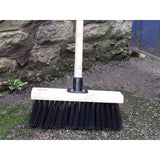 "13"" PVC Stiff Hard Outdoor Yard Brush, Hard Farm Broom with Bracket and Handle - The Dustpan and Brush Store"