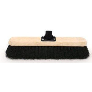 "18"" Black Coco Platform Broom Head, Large Soft Sweeping Brush Head Only"