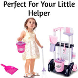 Childs Cleaning Set Pink & Black Trolley