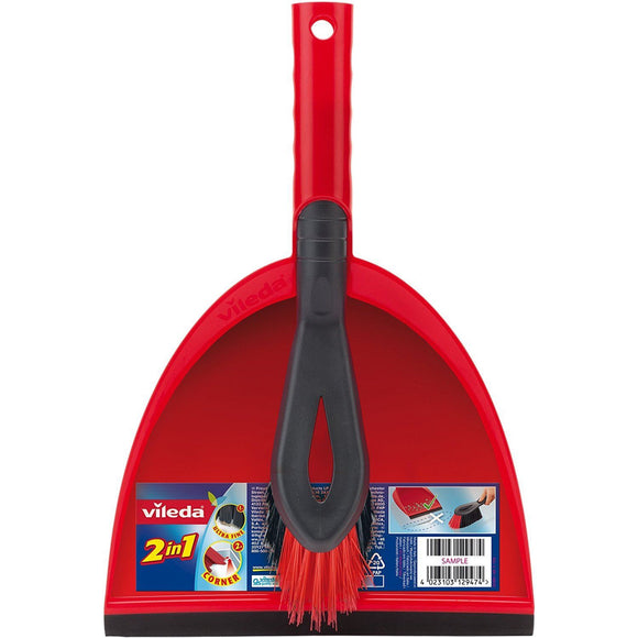 Vileda 2 in 1 Red Dustpan and Brush Set