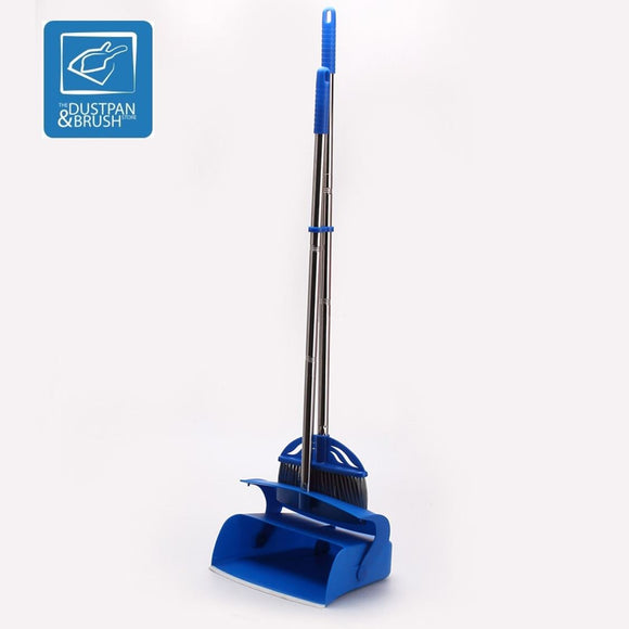 Long Handled Dustpan and Brush Set Stainless Steel Handles