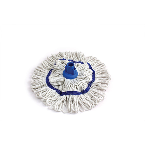 Blue 350mm Looped Pure Yarn Cotton Mop with Loop Food Hygiene Colour Coded - The Dustpan and Brush Store
