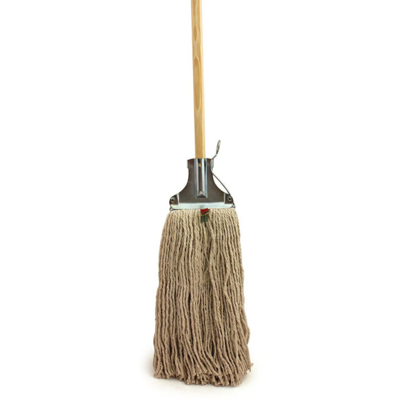 Kentucky Mop Head and Wooden Handle with Metal Fixing Bracket - The Dustpan and Brush Store
