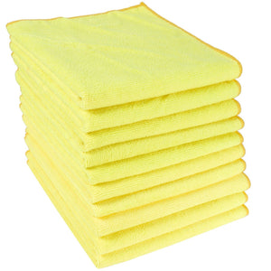 Yellow Microfibre Large Cleaning Cloths 10 Pack Super Soft Multi Purpose Absorbent Cloths