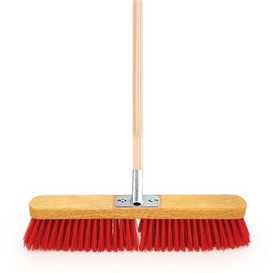 "18"" PVC Heavy Duty Yard Brush with Metal Bracket and Wooden Handle"
