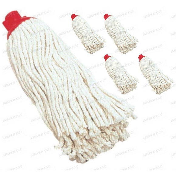 Plastic Socket Mop Head, 10PY Strong Plastic Socket, Durable Cotton Mop Head, Case of 5
