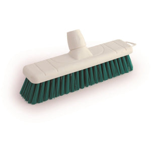 "Green 12"" 300mm Stiff Colour Coded Food Hygiene Brush Sweeping Broom Head Only - The Dustpan and Brush Store"