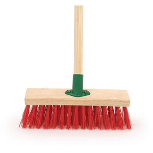 "12"" Stiff Red PVC Broom, Stiff Outdoor Sweeping Brush"
