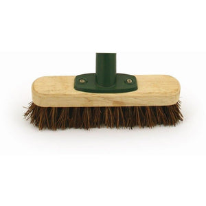 "9"" Natural Deck Scrub Heavy Duty Stiff Bassine Floor Wooden Scrubbing Brush Broom - The Dustpan and Brush Store"