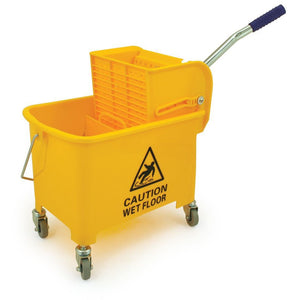 Yellow Heavy Duty Mobile 20L Kentucky Mop Bucket on Wheels with Wringer - The Dustpan and Brush Store