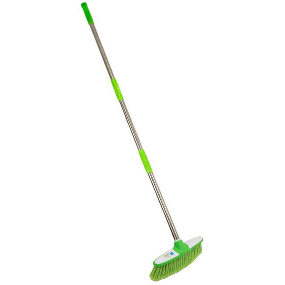 Soft Indoor Broom Brush with Telescopic / Collapsible Stainless Steel Handle - The Dustpan and Brush Store