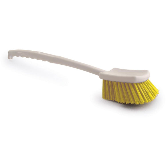 Yellow Long Handled Gong Churn Brush Stiff PVC Cleaning Bristles - The Dustpan and Brush Store