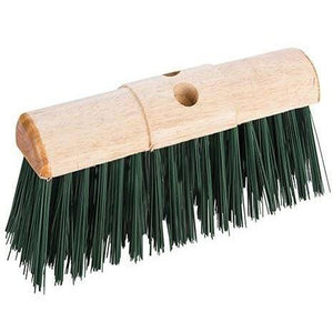 "13"" Round Saddle Back Wooden Broom Head Stiff PVC Yard Brush Head - The Dustpan and Brush Store"