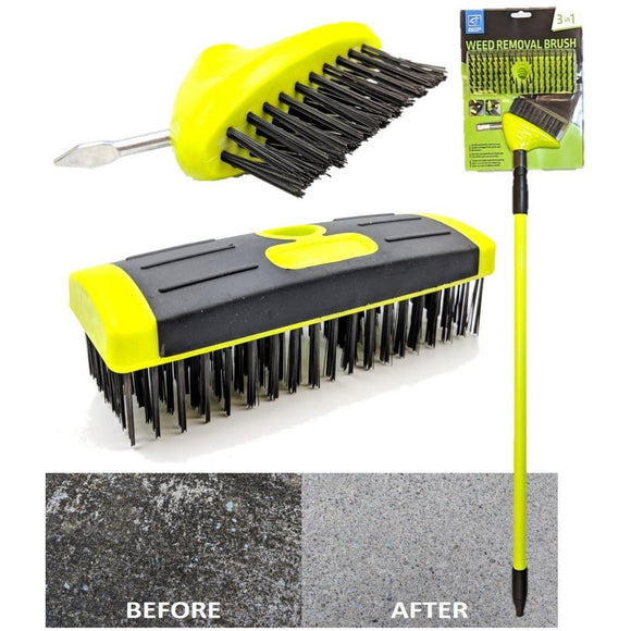 TDBS 3 in 1 Weeding Wire Brush with Telescopic Handle - The Dustpan and Brush Store
