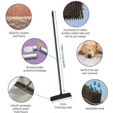 Rubber Bristle Broom Brush with Solid 1.2m Metal Handle Ideal for Dog & Cat Hair Removal
