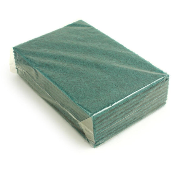 Heavy Duty Commercial Green Flat Abrasive Scourer Scouring Pad Pack of 10 - The Dustpan and Brush Store