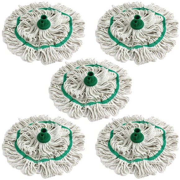 Green 350mm Looped Pure Yarn Cotton Mop with Loop Food Hygiene Colour Coded Pack of 5