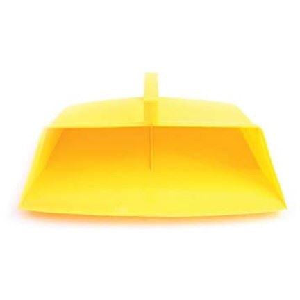 Yellow Colour Coded Food Hygiene Hooded Dustpan Plastic Dust Pan - The Dustpan and Brush Store