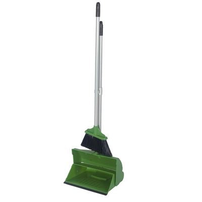 Green Long Handled Dustpan and Brush Colour Coded