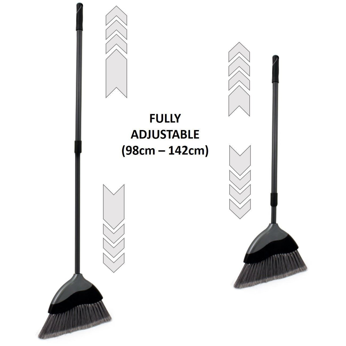 Soft Angled Indoor Broom With Telescopic Silver Grey