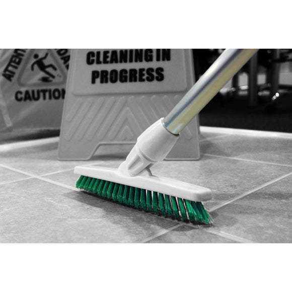 Red Grout Brush Angled Stiff Bristled Deck Floor Tile Grout Cleaning Scrubbing Brush and Handle - The Dustpan and Brush Store