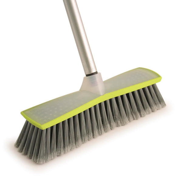Hourglass Green & Silver Indoor Sweeping Broom Soft - The Dustpan and Brush Store