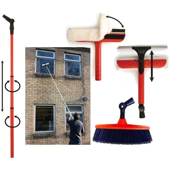Telescopic Window Cleaning Washing Set 3.4 Extension Pole Squeegee & Brush Kit - The Dustpan and Brush Store