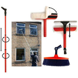 Telescopic Window Cleaning Washing Set 3.4 Extension Pole Squeegee & Brush Kit