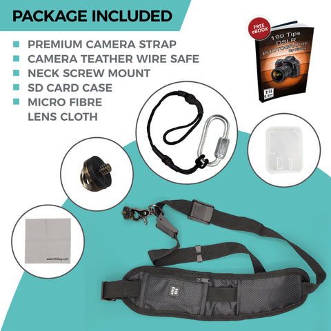 HiiGuy Camera Strap, Adjustable Padded Sling for All SLR and DSLR Cameras,Shoulder Strap, 32 Inches Long