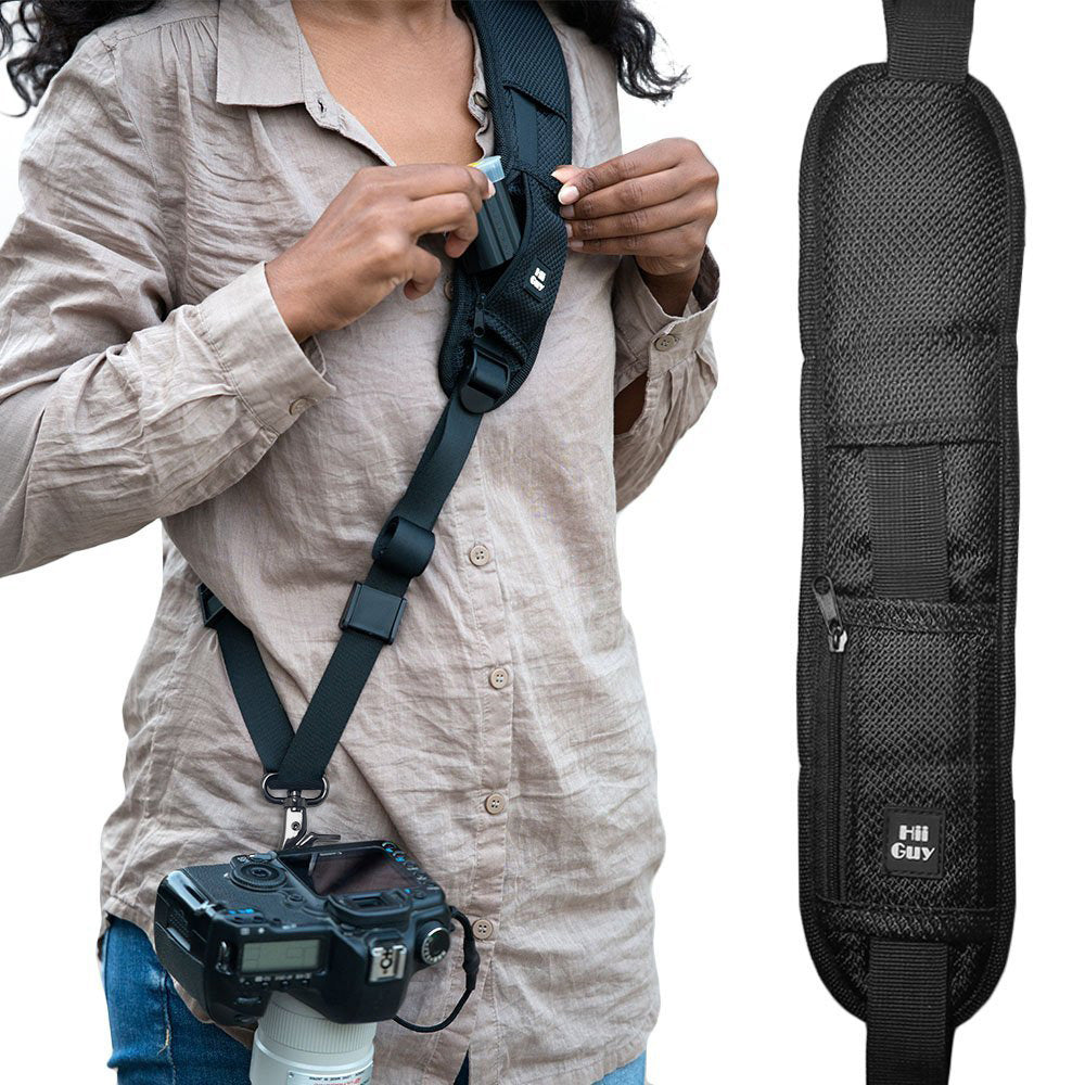 Camera Straps for Canon,Nikon, Neck Strap W/Quick Release and Safety Tether, Perfect for All DSLR including eBook, Lens Cloth, SD Card Case and 3-Year Warranty. (2019 Version) By HiiGuy