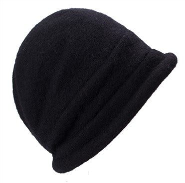 Retro Pure Wool Black Button Detail Hat