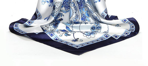 Large Blue and White Silky Feeling Scarf 90cm x 90cm