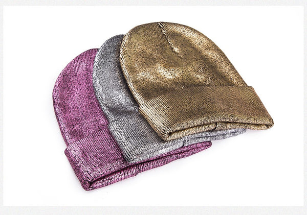 Warm Metallic Classic Winter Hat - One Size
