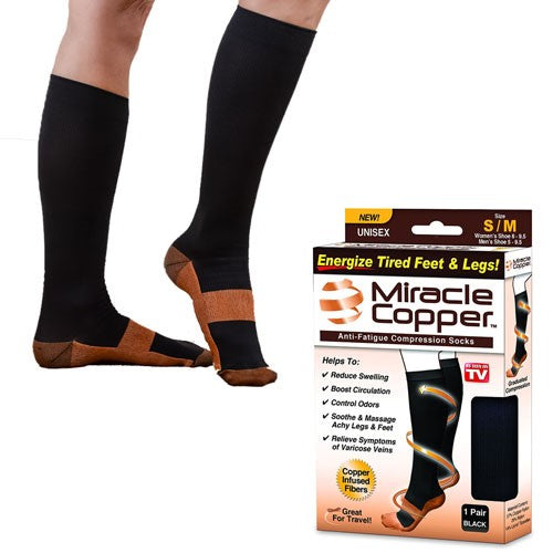 Miracle Copper Anti-Fatigue Compression Socks 1 Pair (Black)