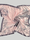 Large Pink and Grey Polyester Scarf Versatile can be worn in many different ways.