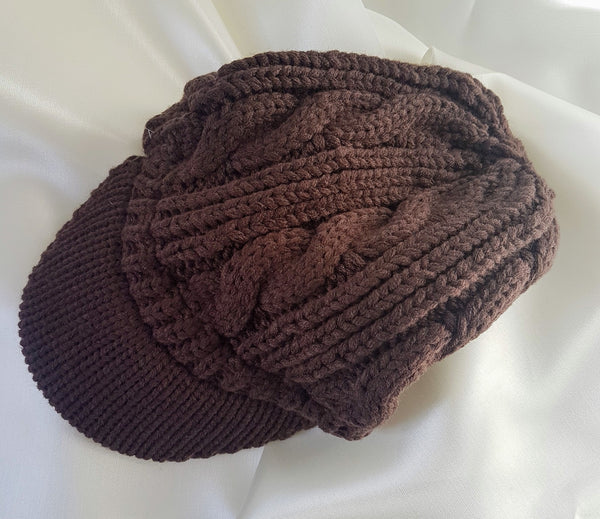 Peaked Beanie Women's Chocolate Brown Hat