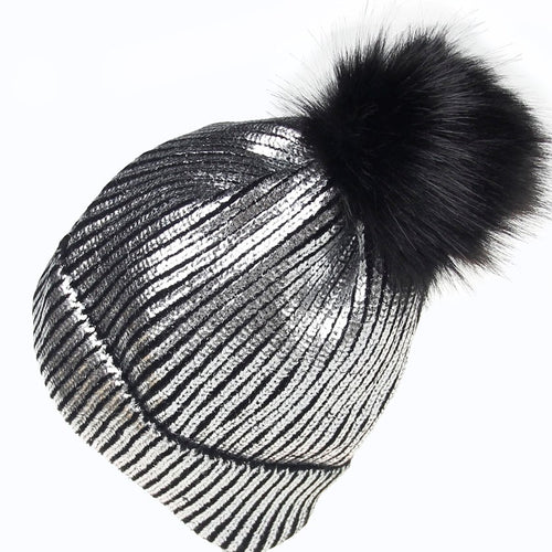 Faux Fur Silver Metallic Pom Pom Hat