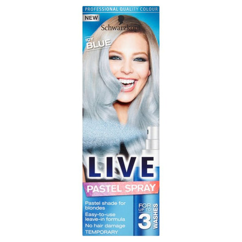 SCHWARZKOPF ICY BLUE LIVE PASTEL SPRAY TEMPORARY HAIR COLOUR LASTS UP TO 3 WASHES FOR BLONDES