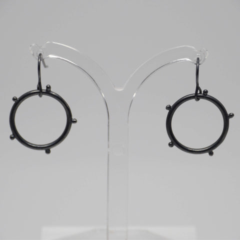 Circle Drop Earrings, Black Oxidised Silver