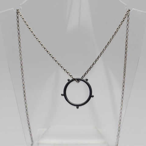 Circle Necklace, Oxidised Black Silver