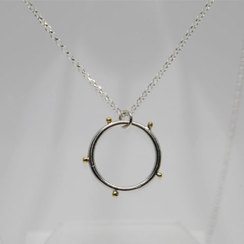 Circle Necklace, Silver & Gold